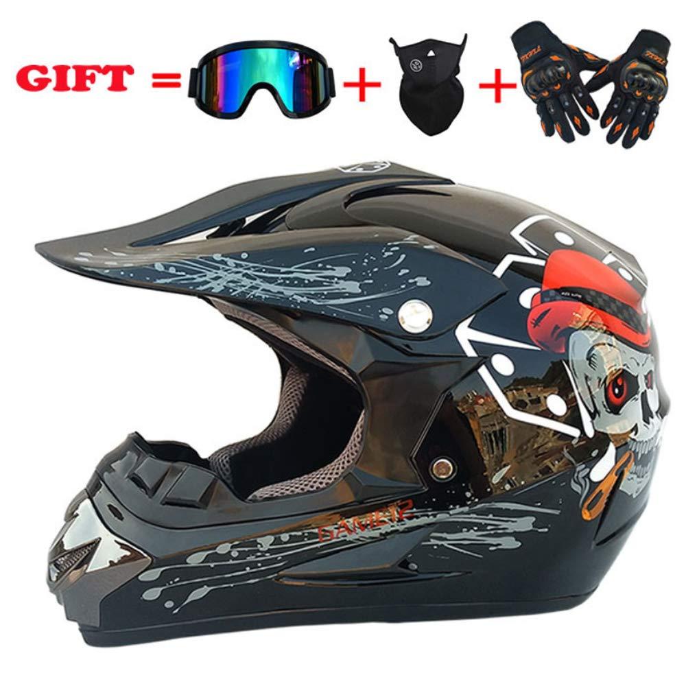 XSWE Full Face Helmet, Outdoor Adult Off-Road Helmet Motorcycle Bike Motocross Racing Balance Car Scooter (Handschuhe, Goggles, Maske, Set of 4) 26 Farben