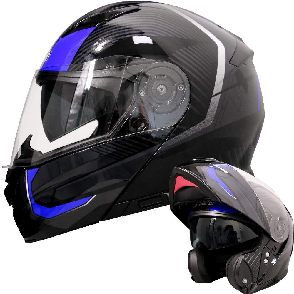 Leopard LEO-888 DVS Flip up Front Helmet Motorcycle Motorbike Helmet with DOUBLE SUN VISOR Matt Black M