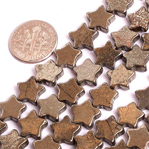 Pyrite Beads for Jewelry Making Natural Gemstone Semi Precious 10mm Flat Star Polygon 15
