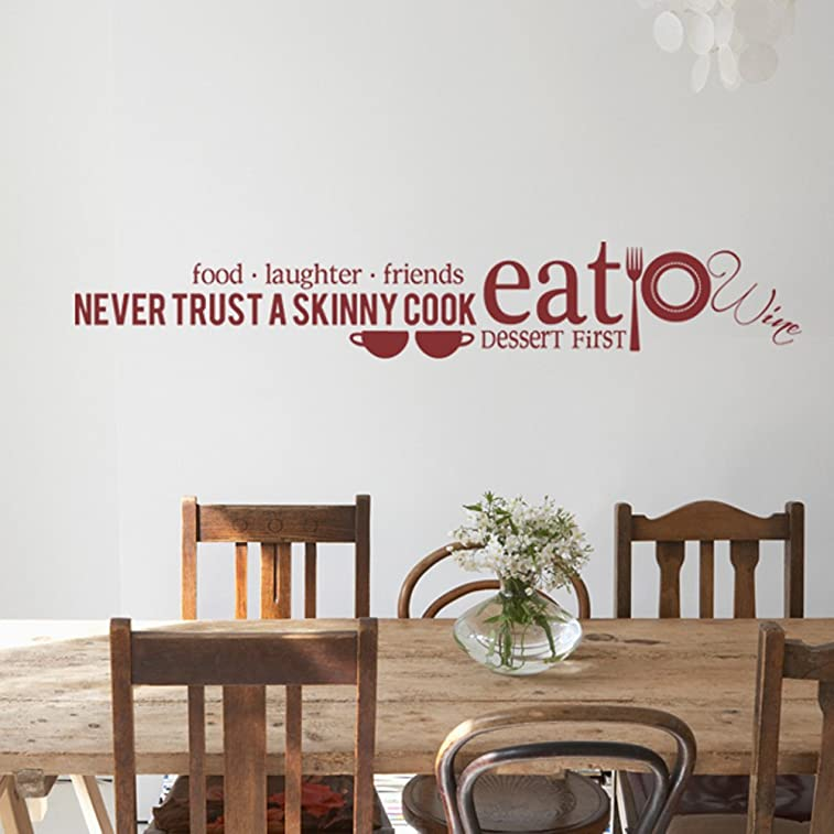 Kitchen Wall Decal - Never trust a skinny cook Food Laughter Friends Dessert First Home D¨¦cor (Custom, Large)