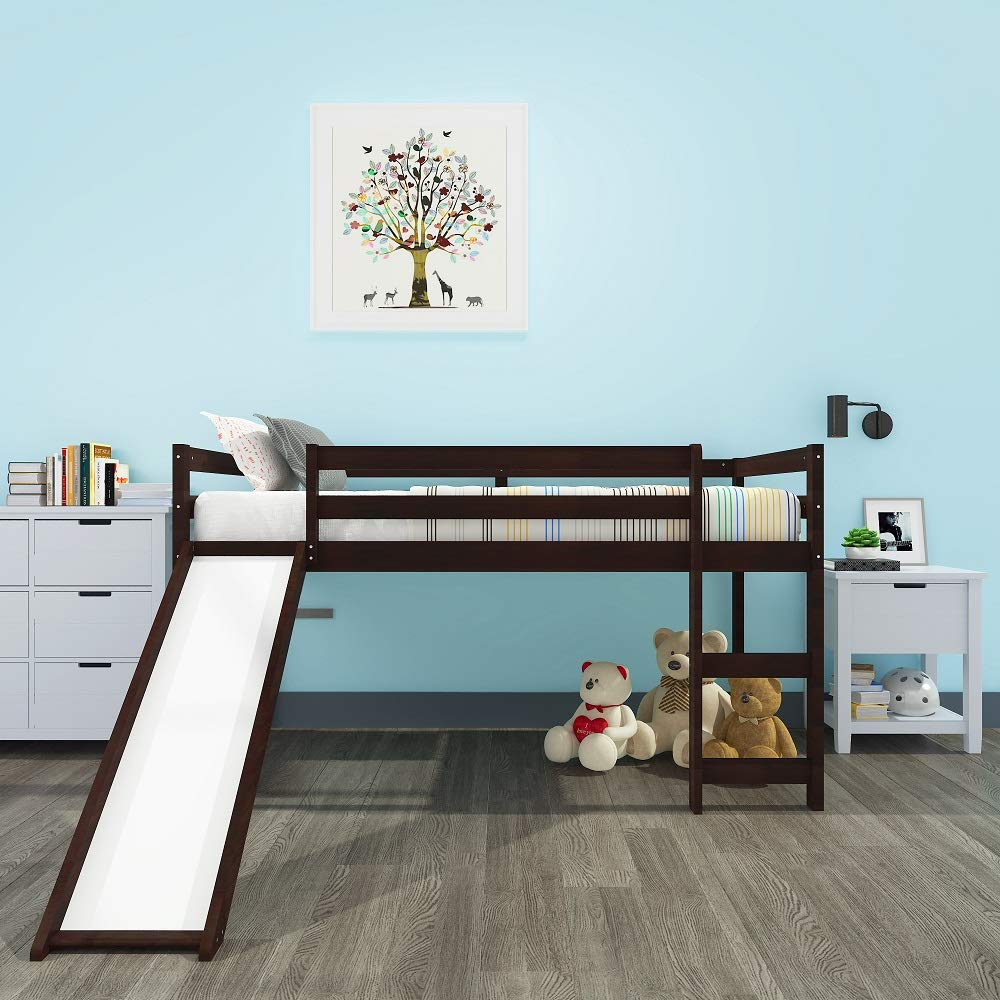 Harper Bright Designs WF187744 Kids Loft Bed with Slide, Multifunctional Design, Twin Espresso , 78.2 L x 42.3 W x 44.4 H