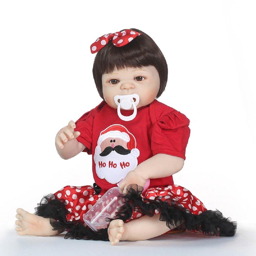 Barato Nicery Reborn - Muñeca de bebé de vinilo de alta calidad, 50 – 55 cm, magnética, para niños, amigos, impermeable, con traje para Acción de Gracias, color negro, frigorífico, Navidad, día de Nav