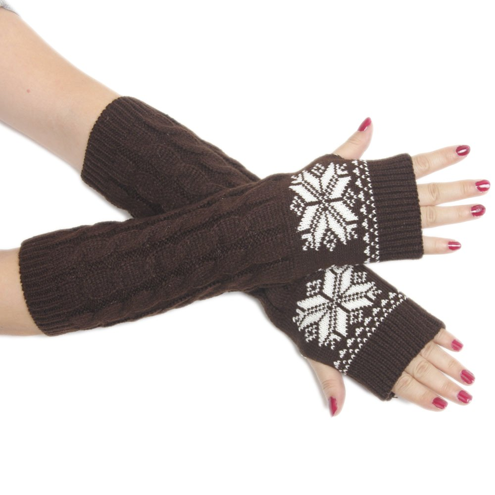 Yacun Women's Knitted Stretchy Long Sleeve Fingerless Gloves- Arm Warmers