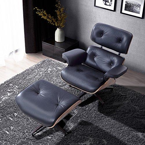 Italian Leather Ottoman (RECLINER GENIUS 100% Grain Italian Leather Recliner Lounge Chair with Ottoman (Black))