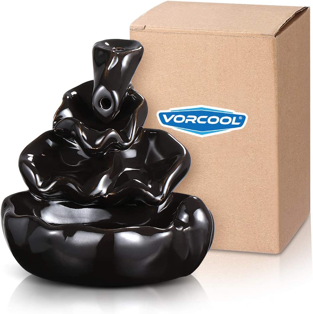 Ceramic Glaze Incense Smoke Cone Burner Backflow Censer Tower Holder (Black)
