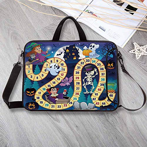 Board Game Custom Neoprene Laptop Bag,Halloween Theme Symbols Happy Witch Girl Vampire Ghost Pumpkins Happy Comic Laptop Bag for Men Women Students,12.6
