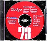 A MUST FOR OWNERS, MECHANICS & RESTORERS - THE 1973 DODGE FACTORY REPAIR SHOP & SERVICE MANUAL & BODY MANUAL CD INCUDES: Challenger, Charger, Rally, SE, Coronet, Crestwood, Dart Sport, Swinger, Monaco, Polara, Custom, convertibles, wagons
