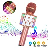 Wireless Karaoke Microphone,4 in 1 Bluetooth Dancing LED Lights Handheld Portable Speaker Karaoke Machine, Home KTV Player with Record Function, Compatible with Android & iOS Devices,ROS.