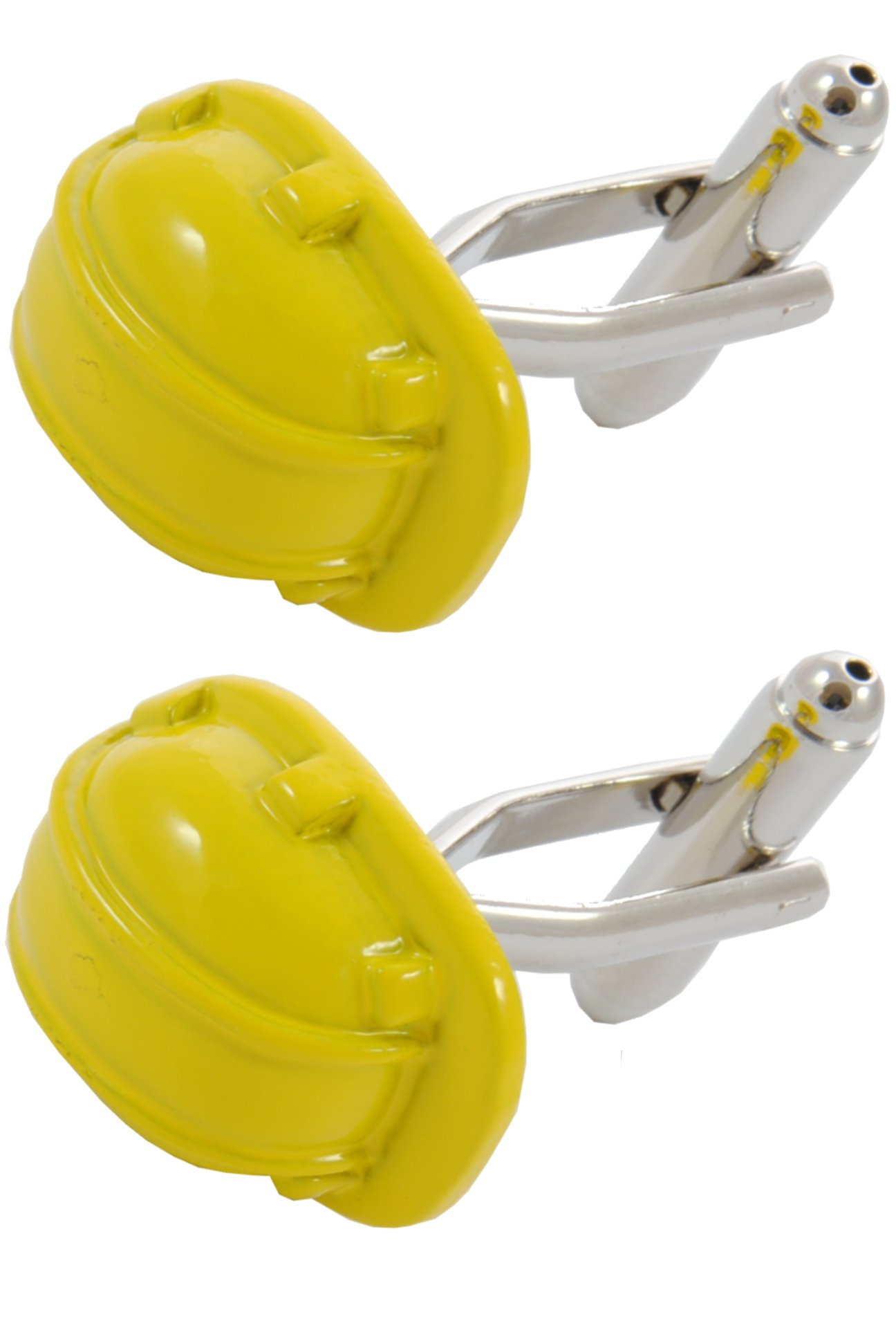 COLLAR AND CUFFS LONDON - Premium Cufflinks with Gift Box - Hard Hat - DIY Builder Construction Engineer Supervisor - Yellow Colour
