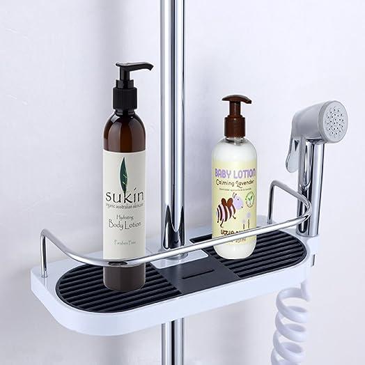 Stainless Steel Shower Caddy Pole, Adjustable Bathroom Rack Shelf And NO  Drilling Bathroom Shower Storage