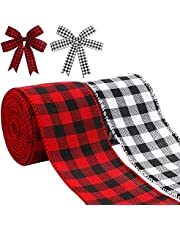 Kingovalley 2 Rolls Christmas Buffalo Plaid Ribbon, 2.5 inch x 10 Yards Christmas Wired Edge Ribbons, Xmas Plaid Ribbons for Christmas Gift Wrapping DIY Crafts Home Garland Bow Door Wreath Decorations