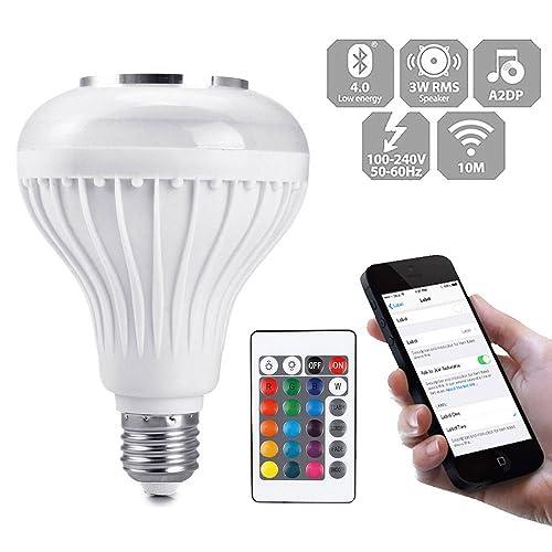 Wireless Bluetooth Speaker Smart E27 LED RGB Lamp Bulb Light Music Player