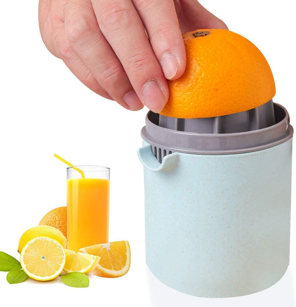 Manual Juicer, Citrus Juicer Lemon Squeezer Hand Juicer Citrus Squeezer Maker with Strainer and Container, Blue -JH JIEMEI HOME