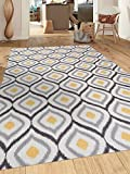 Modern Moroccan Design Non-Slip (Non-Skid) Area Rug 5 X 7 (5' 3'' X 7' 3'') Gray-Yellow