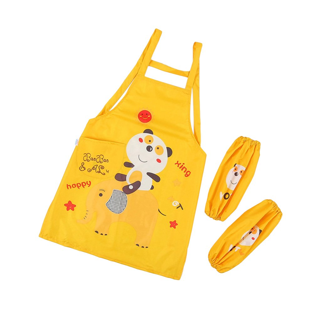 BESTONZON Children's Aprons Waterproof Anti-Wearing Children Kitchen Apron Sleeveless Painting Clothes Aprons with a Pair of Sleeves (Yellow)