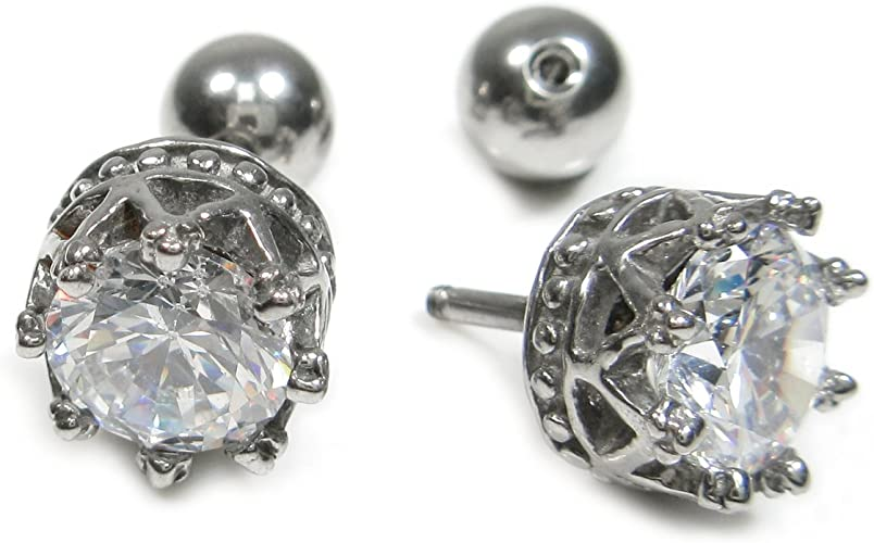 Stainless Steel 6 Pairs Round Shiny Austrian Crystal Stud Earrings Set Jewelry