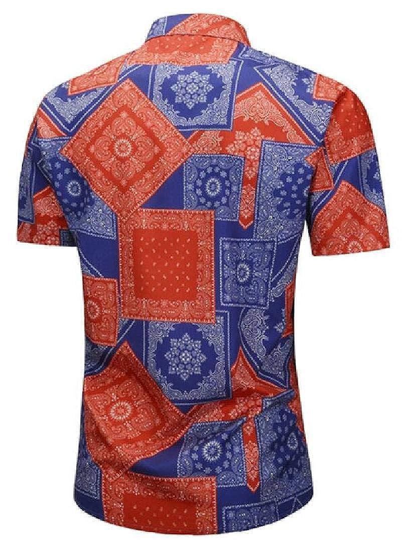 Domple Mens Short Sleeve Summer Floral Lapel Collar All Plus Size Button Down Dress Work Shirt