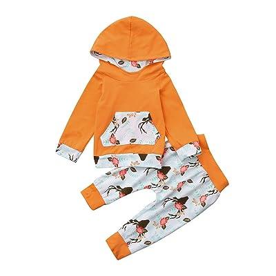 Elyseesen Chic Bébé manches longues fleur cerf tête impression capuche chemise Sweat Tops vêtements + pantalons deux pièces ensemble