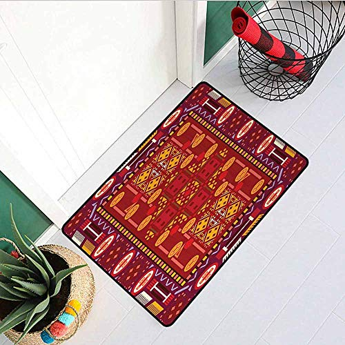 - GloriaJohnson Afghan Front Door mat Carpet Afghan Pattern with Eastern Folklore Inspirations Geometric Shapes in Warm Colors Machine Washable Door mat W31.5 x L47.2 Inch Multicolor