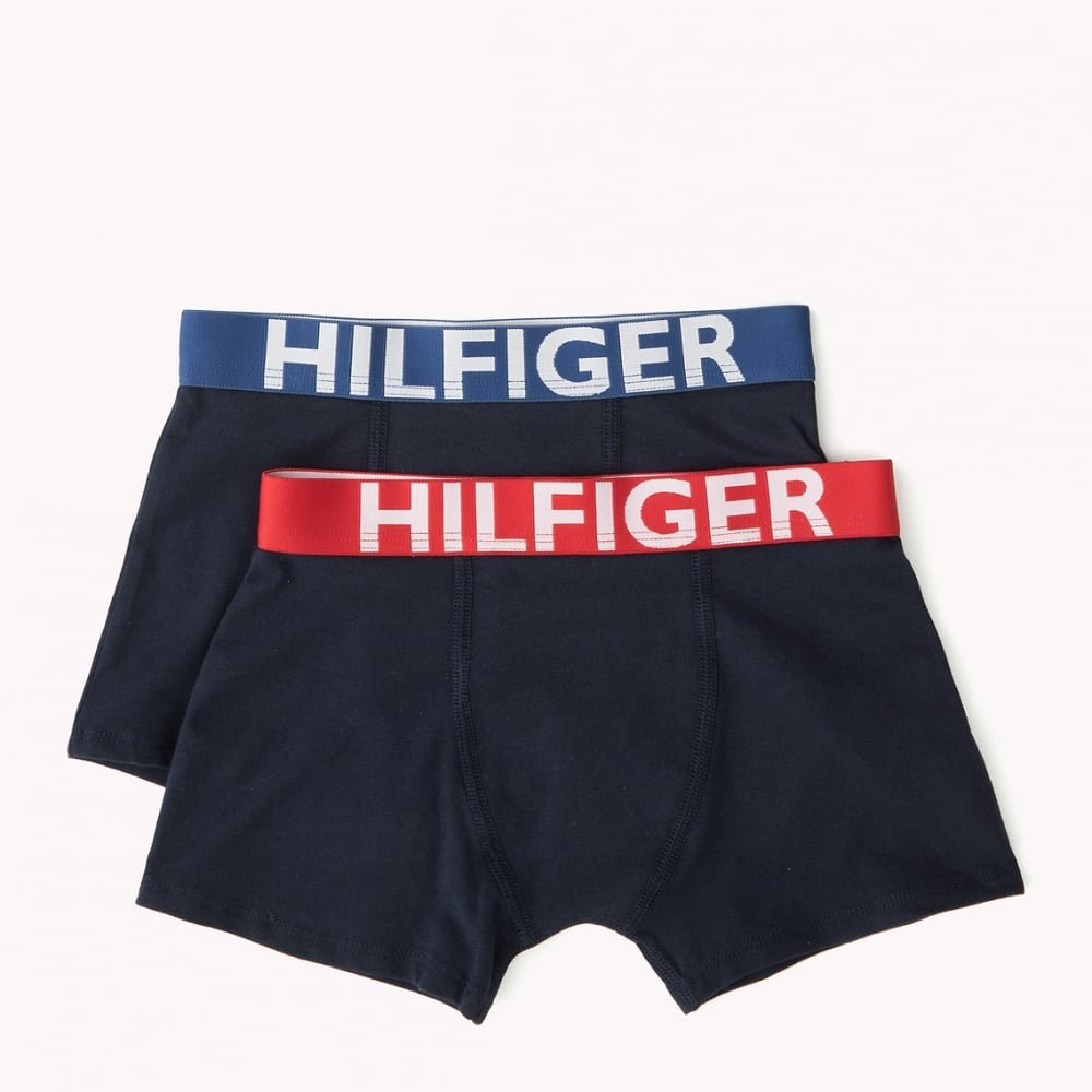 Tommy Hilfiger 2-Pack Bold Hilfiger Logo Boys Boxer Trunks, Navy with red/Blue Age 8-10 Navy with red/Blue