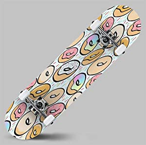 Classic Concave Skateboard Kawaii Doughnuts Longboard Maple Deck Extreme Sports and Outdoors Double Kick Trick for Beginners and Professionals