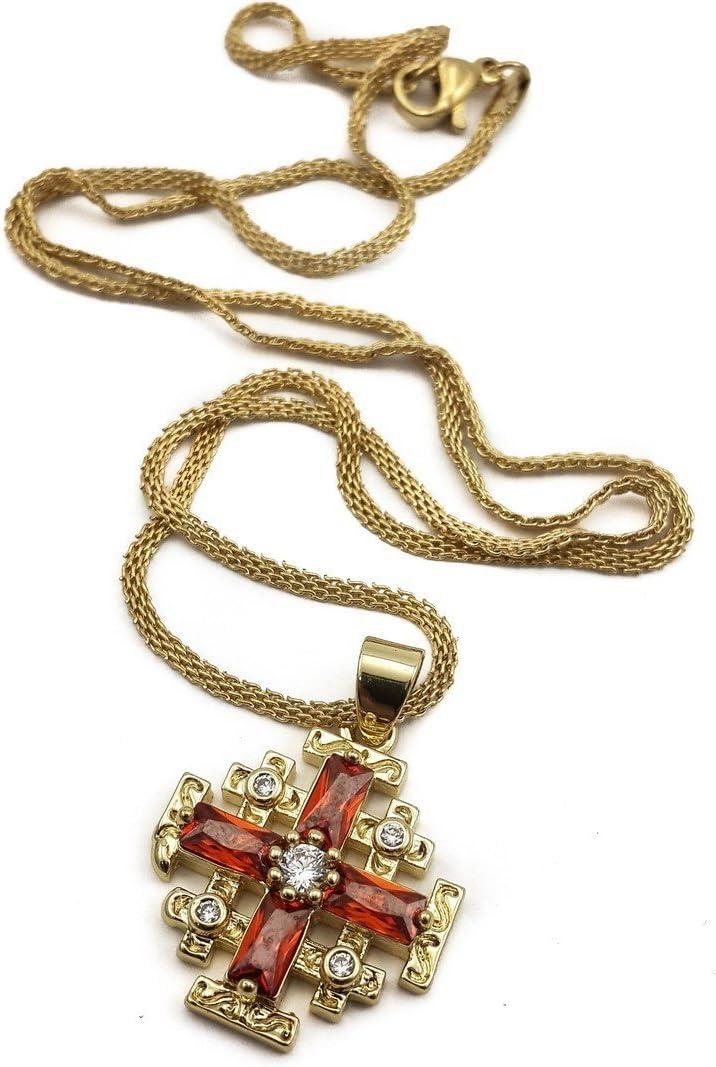 Collar chapado en oro con colgante de cruz de Jerusalén, granate rojo, cristal y circonitas, rubí