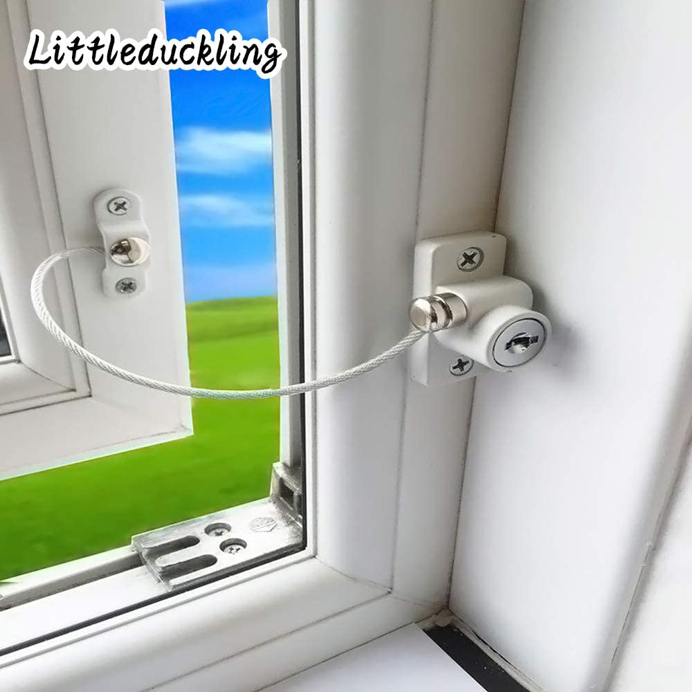 Littleduckling 2pack Kids Window Restrictor Lock Child Baby Safety Door Cable Locks Security Wire Catch