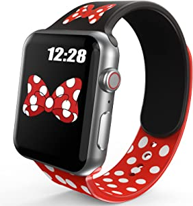 OTTARTAKS Band Compatible with Apple Watch Band 38mm 40mm Girls Women, Cute Cartoon Mouse Bow-knot Silicone Watch Bands for iWatch Series 6 5 4 SE 3 2