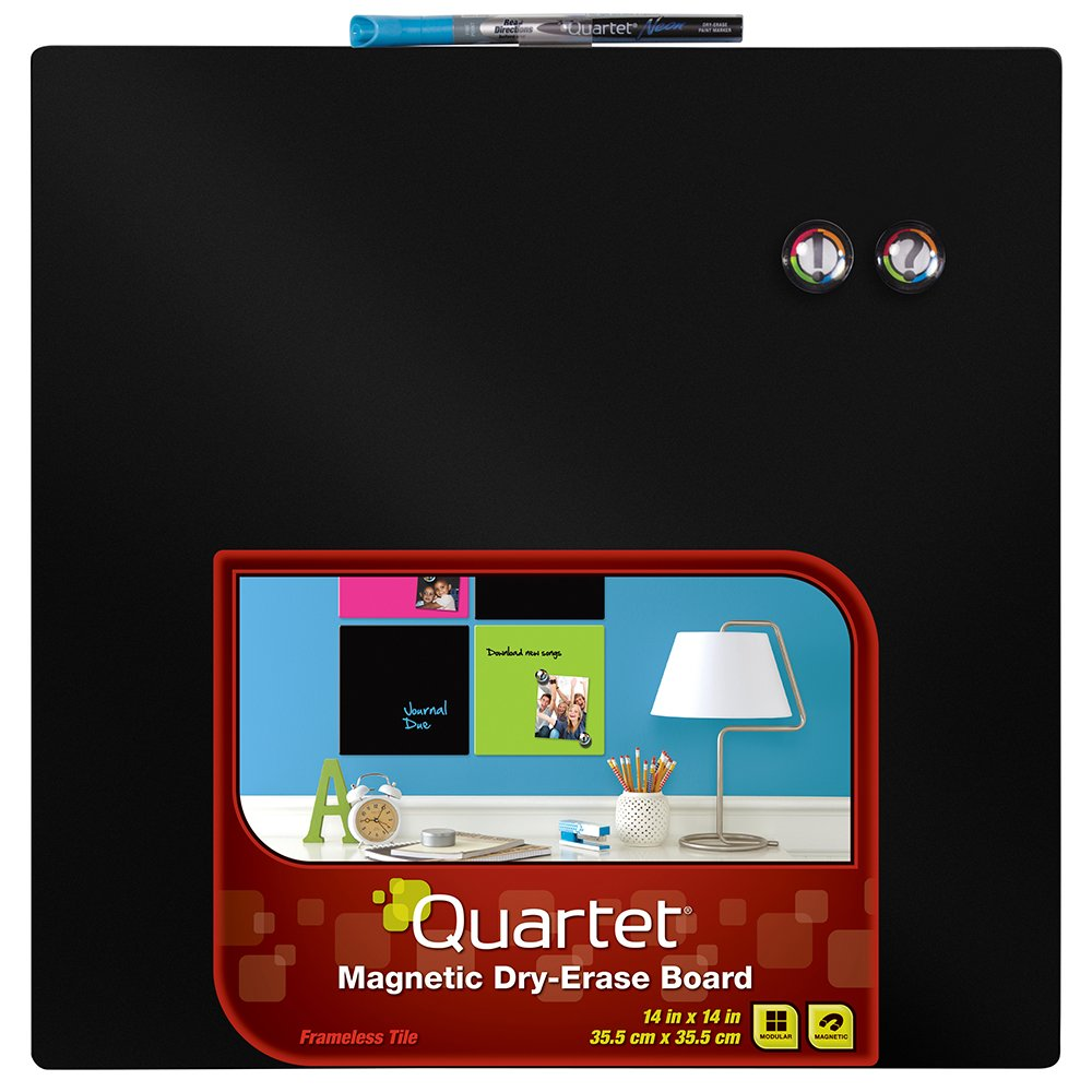 Quartet Dry-Erase Board, 14 x 14 Inches, Frameless, Neon Black Surface (85413-BK)