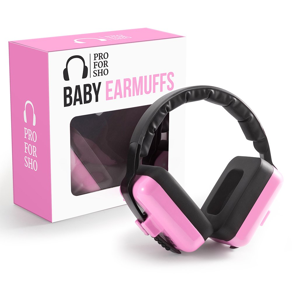 Pro For Sho Baby Ear Muffs Hearing Protection - Special Designed Comfort Fit for 3 Months to 2 Years - Pink