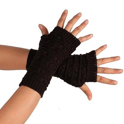 b9ee93901f39e Loneflash Gloves, Fashion Knitted Arm Fingerless Winter Gloves Unisex Soft  Warm Mitten Gloves (Coffee