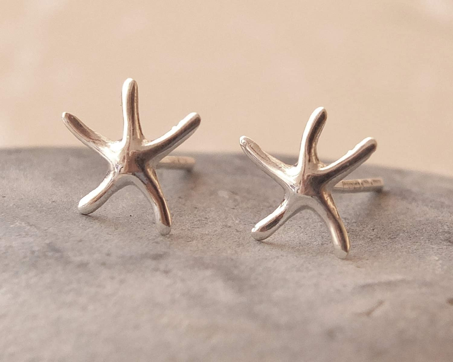 925 Sterling Silver Ear Studs Starfish Earrings Made USA