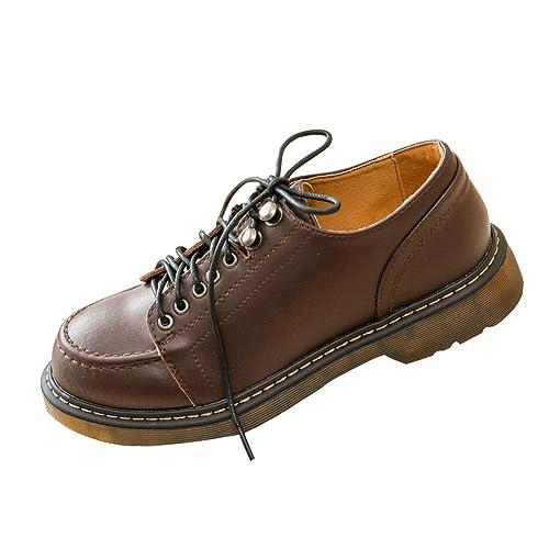 SXSHUN Mocasines para Niñas Zapatos para Uniforme Colegio con Cordones Piel de Vacuno: Amazon.es: Zapatos y complementos