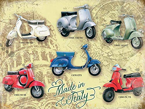 PAGAIXI Metal Signs Vintage Vespa Collage Tin Sign 8 x 12 Funny Plaques Poster for Indoor Home Bar Cafe Wall Decor