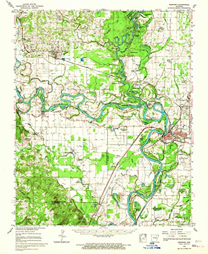 YellowMaps Newport AR topo map, 1:62500 Scale, 15 X 15 Minute, Historical, 1962, Updated 1967, 20.7 x 17 in - Polypropylene