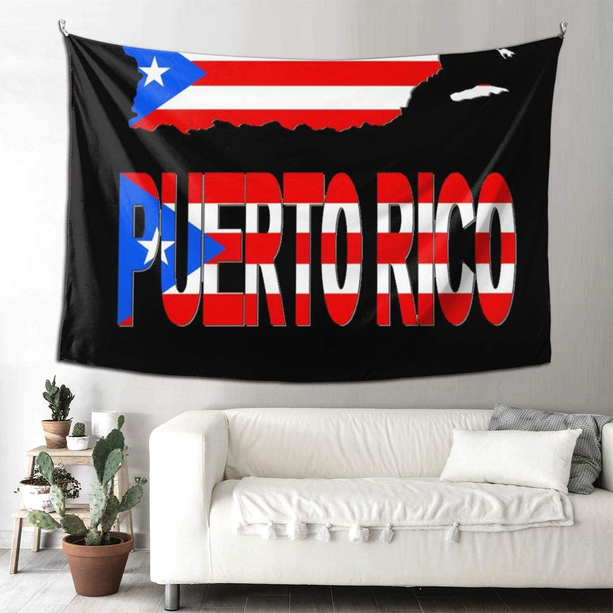 Puerto Rico Map Flag Wall Hanging Tapestries Black & White Wall Blanket Wall Art for Living Room Bedroom Home Decor 90x60 Inches