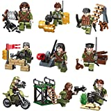 Army Minifigures Lego-Compatible Set - 9pcs Army Minifigures and 50+pcs Military Weapons/Accessories Building Blocks Toys