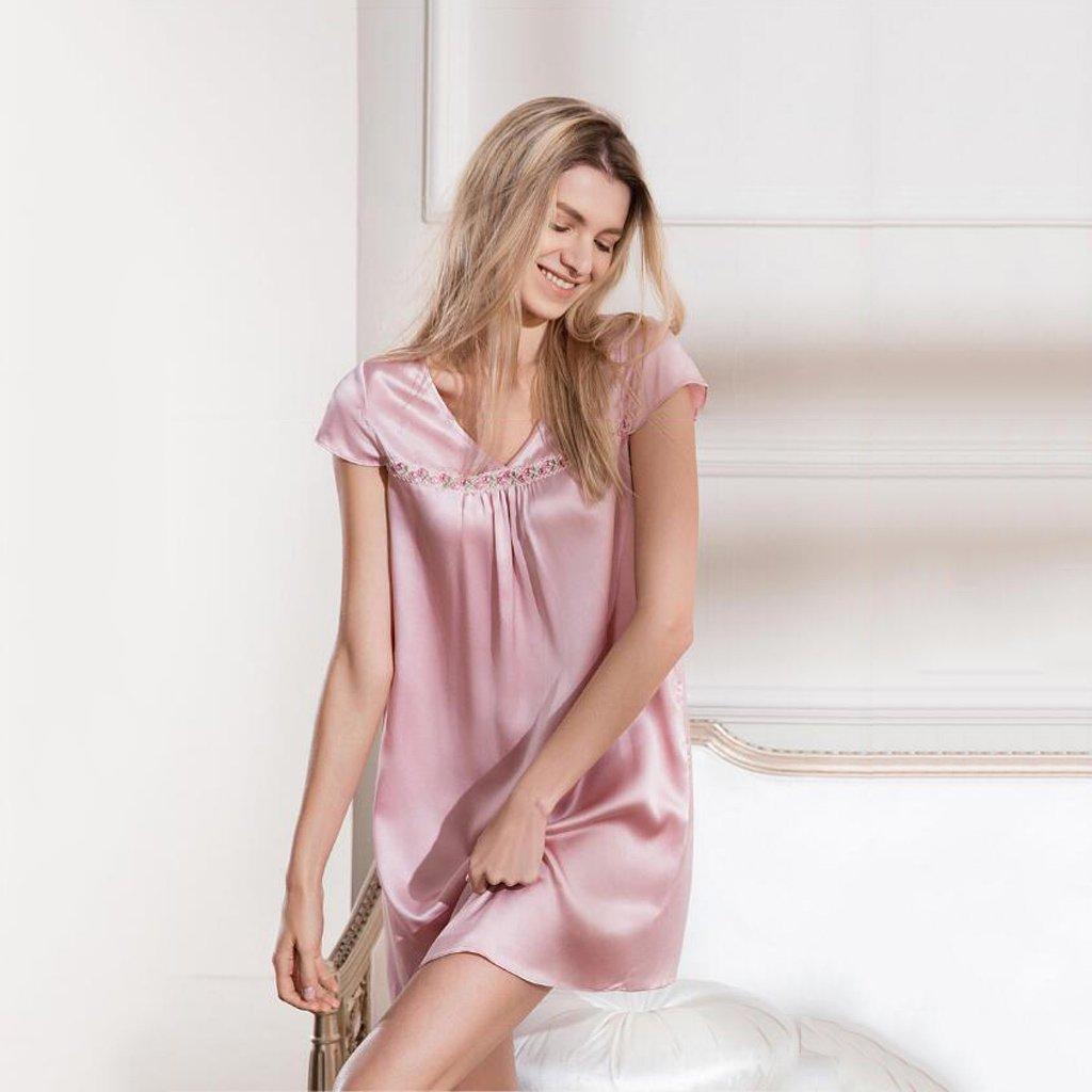 GAODUZI シルクのホームドレススカート秋の半袖の夜のドレスセクシーなシルクパジャマ女性の夏の大きなサイズのドレス B07F2XV37X L l|Pink Pink L l
