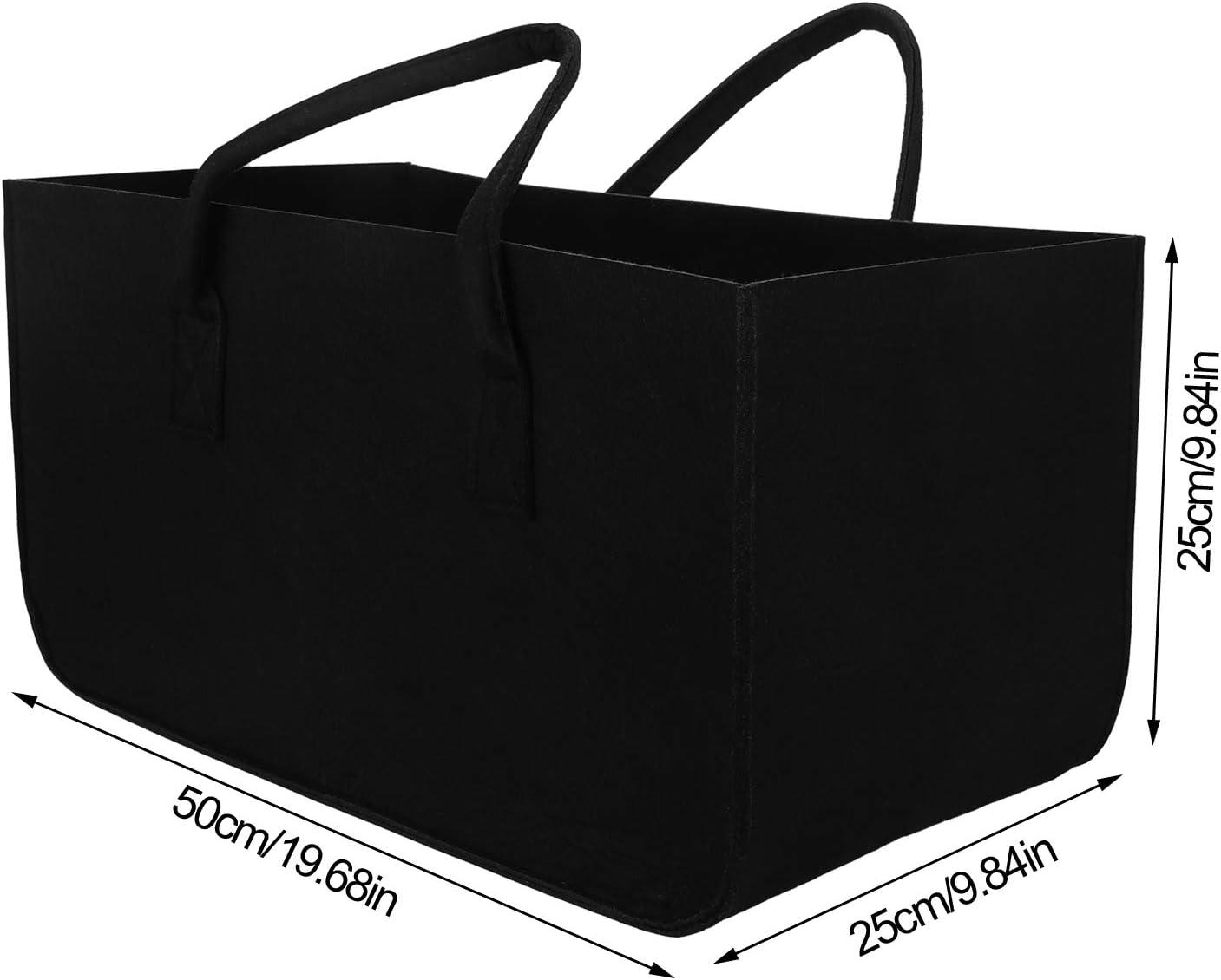Sinwind 2 borse in feltro per legna da camino cestino per la legna borsa in feltro per la spesa shopper in feltro pieghevole cestino per la spesa 50 x 25 x 25 cm cestino per giornali grande