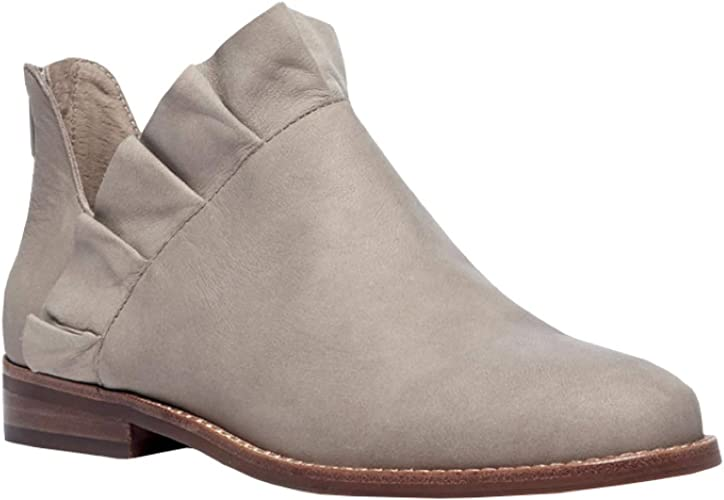 Womens Ruffle Ankle Booties Low Chunky