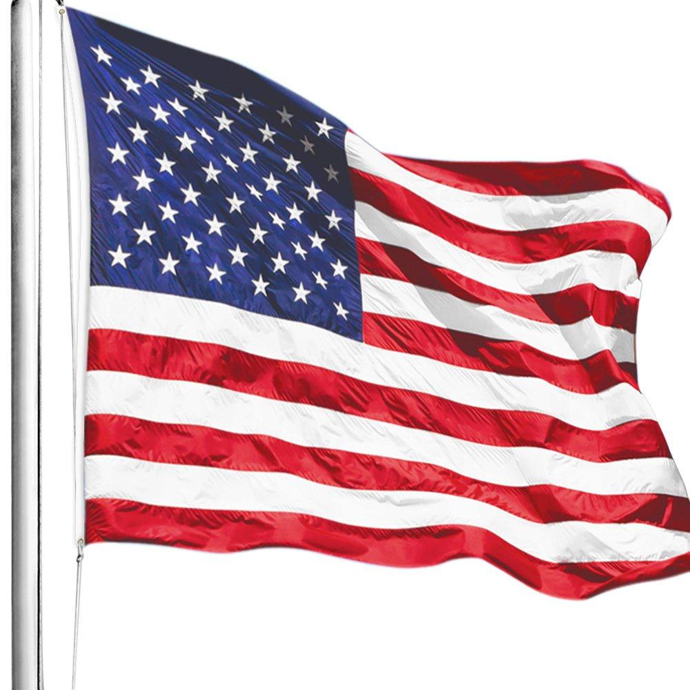 Anley |EverStrong Series| American US Flag 2x3 Foot Heavy Duty Nylon - Embroidered Stars and Sewn Stripes - 4 Rows of Lock Stitching - USA Banner Flags with Brass Grommets 2 X 3 Ft