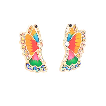 7205777a0cb93 Amazon.com: ptk12 Multi Enamel Butterfly Small Small Earrings New ...