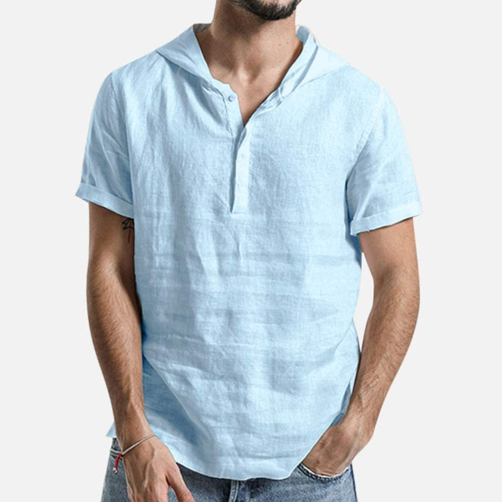 Nuewofally Mens Loose Solid Short Sleeve Shirts Cotton Linen Henley Hooded Sweatshirt Button Up Banded Collar Blouse (Light blue,M)