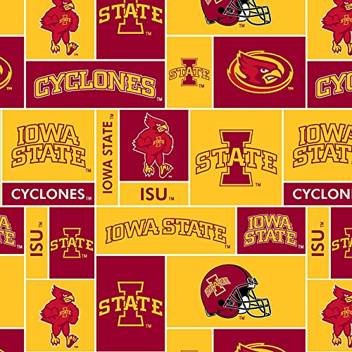 NCAA Licensed Iowa State Cyclones Block Fleece Fabric 60'' Width Sold By The ()