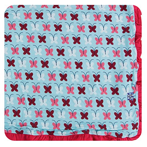 Kickee Pants Little Girls Print Ruffle Toddler Blanket - Tallulah's Butterfly, One Size