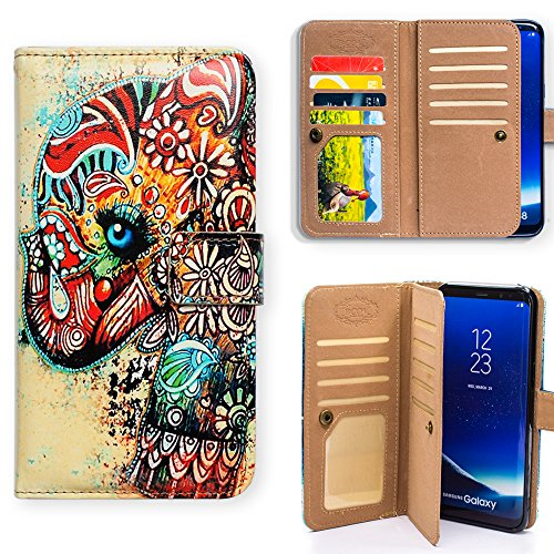 Bfun Packing Galaxy S9 Plus Case,Bcov Tribal Floral Elephant Multifunction 9 Card Slot Wallet Leather Case Cover For Samsung Galaxy S9 Plus/+
