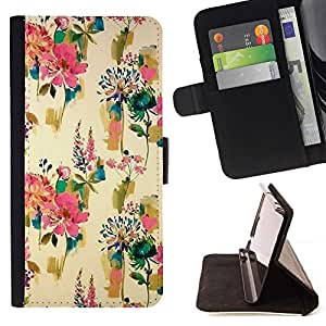 Momo Phone Case / Flip Funda de Cuero Case Cover - Flores Wallpaper pintura de época - HTC DESIRE 816
