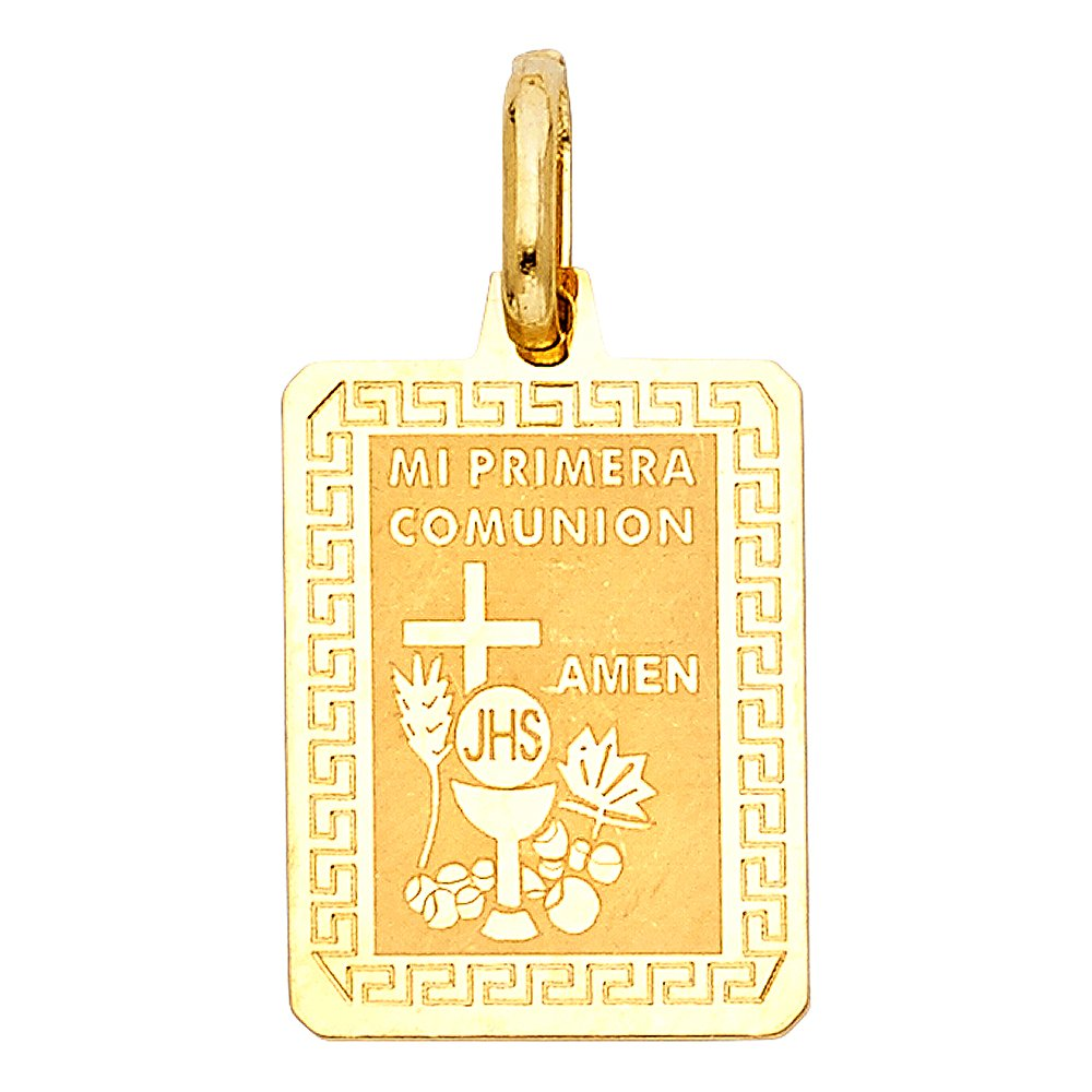 14K Yellow Gold Communion Charm Pendant with 1.7mm Flat Open Wheat Chain Necklace