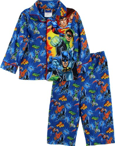 Justice League Toddler Boys Flannel Coat Style Pajamas (2T) (Coat Style Pajamas)