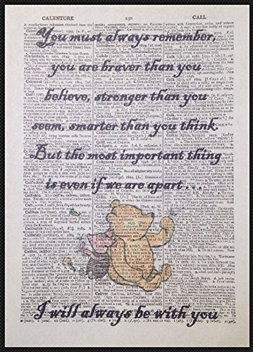 Parksmoonprints Winnie The Pooh Quote Print Vintage Dictionary Page Picture Wall Art Brave Cute